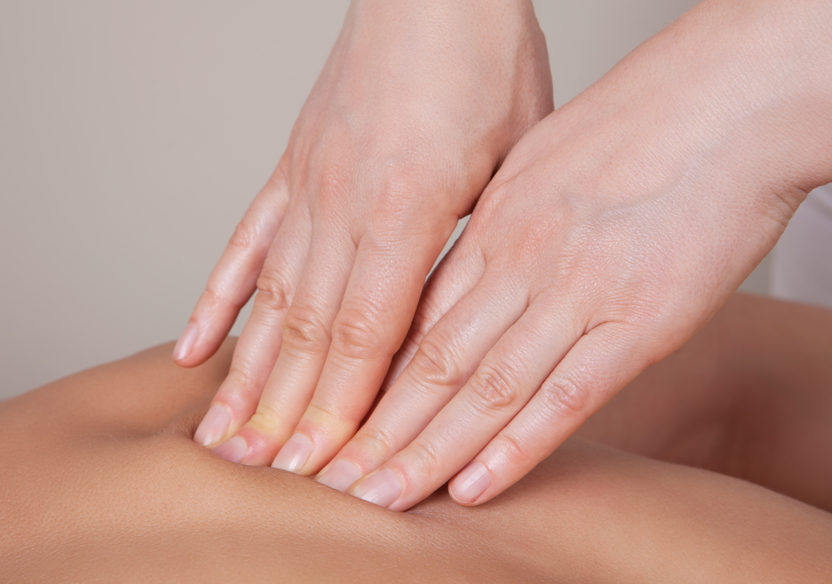 Close up of connective tissue massage on  a muscle group