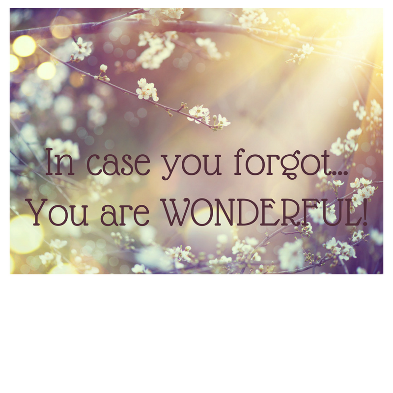 In case you forgot...You are WONDERFUL!